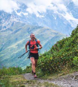 Kirra Balmanno running in the mountains