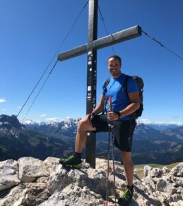 Peter Fill hiking in the dolomites