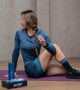 Kirra Balmanno stretching her legs
