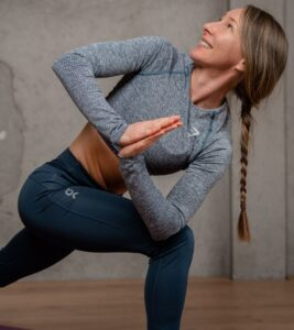 Kirra Balmanno doing yoga